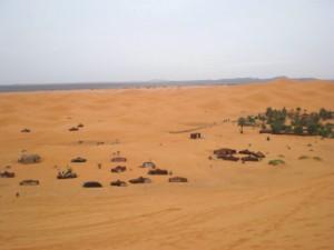 Vue de notre campement à Merzouga